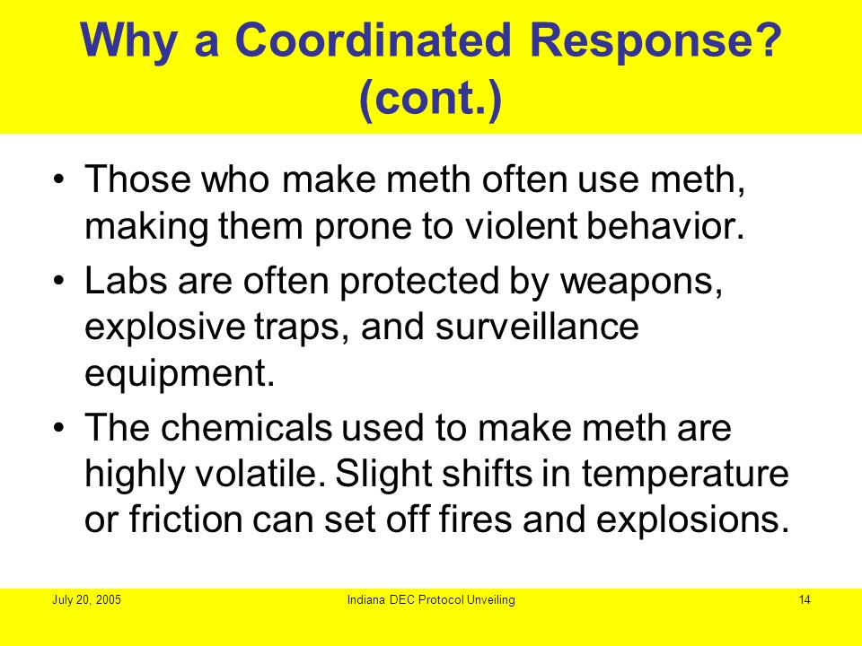 July 20, 2005Indiana DEC Protocol Unveiling14 Why a Coordinated Response? (cont.) Those who make meth often use meth, making them prone to violent beh