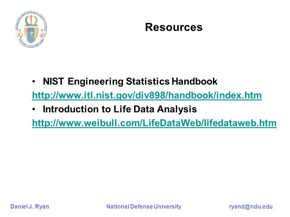 Daniel J. Ryan National Defense University ryand@ndu.edu Resources NIST Engineering Statistics Handbook http://www.itl.nist.gov/div898/handbook/index.