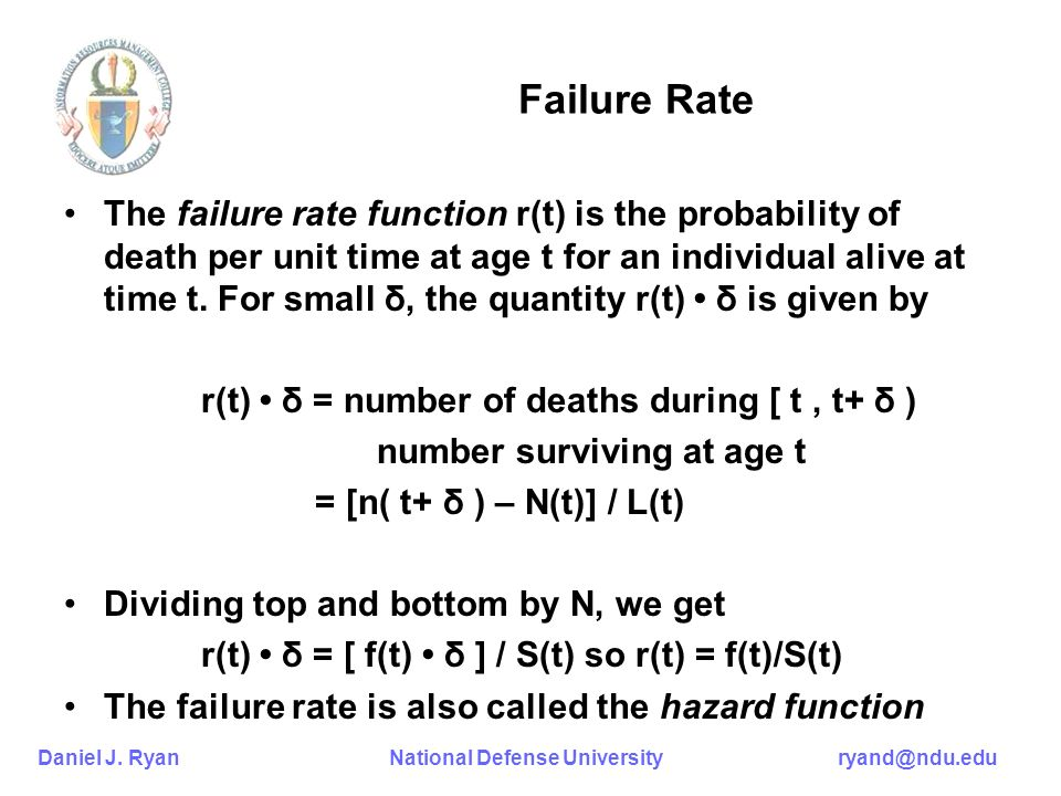 Daniel J. Ryan National Defense University ryand@ndu.edu Failure Rate The failure rate function r(t) is the probability of death per unit time at age
