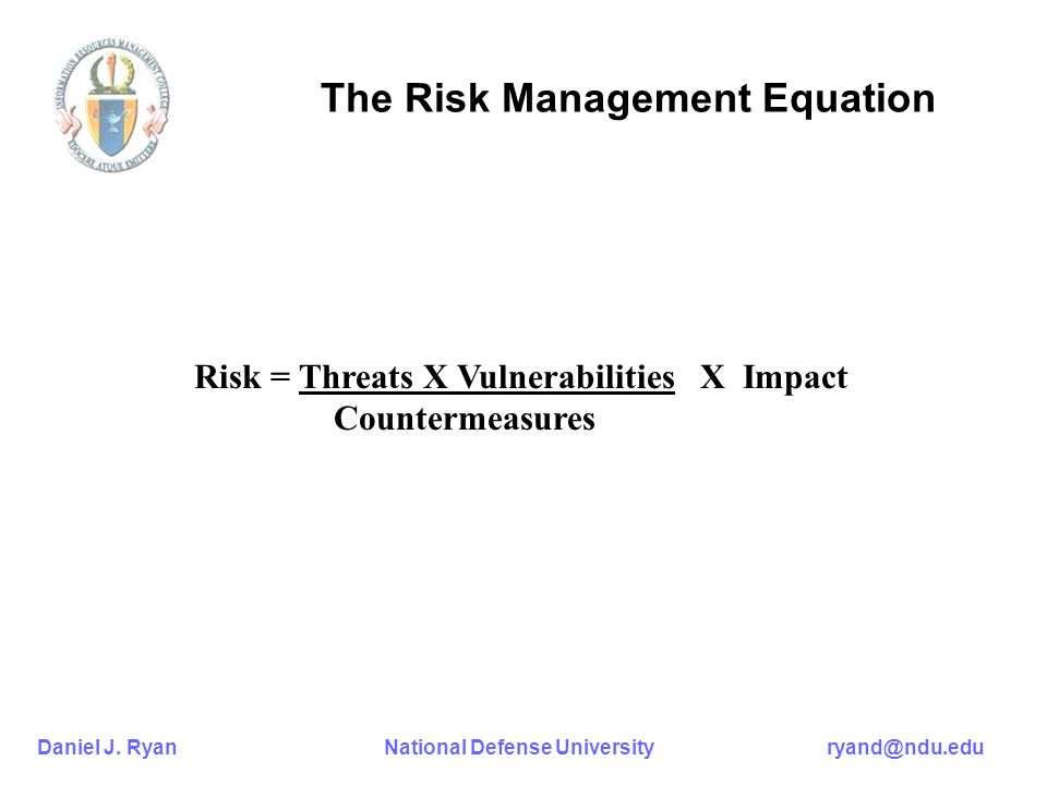 Daniel J. Ryan National Defense University ryand@ndu.edu The Risk Management Equation Risk = Threats X Vulnerabilities X Impact Countermeasures