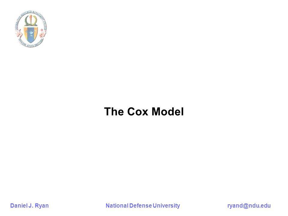 Daniel J. Ryan National Defense University ryand@ndu.edu The Cox Model