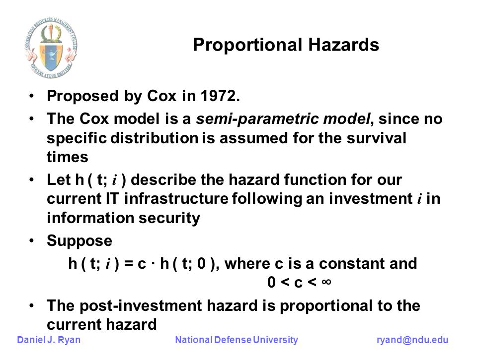 Daniel J. Ryan National Defense University ryand@ndu.edu Proportional Hazards Proposed by Cox in 1972. The Cox model is a semi-parametric model, since