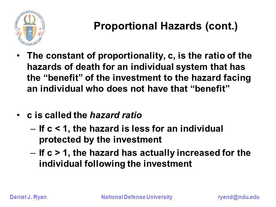 Daniel J. Ryan National Defense University ryand@ndu.edu Proportional Hazards (cont.) The constant of proportionality, c, is the ratio of the hazards