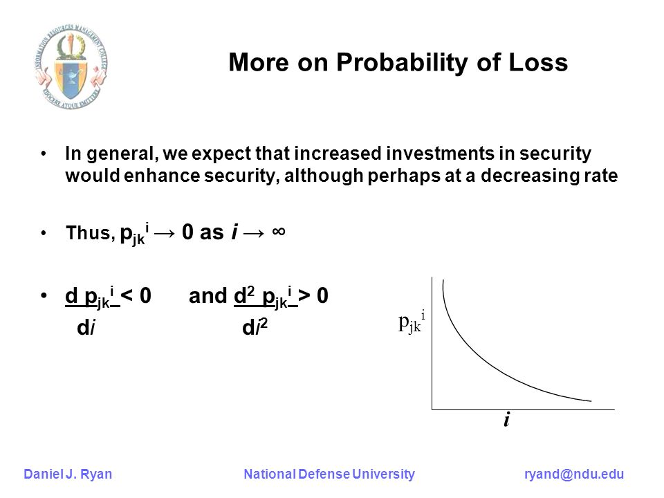 Daniel J. Ryan National Defense University ryand@ndu.edu More on Probability of Loss In general, we expect that increased investments in security woul