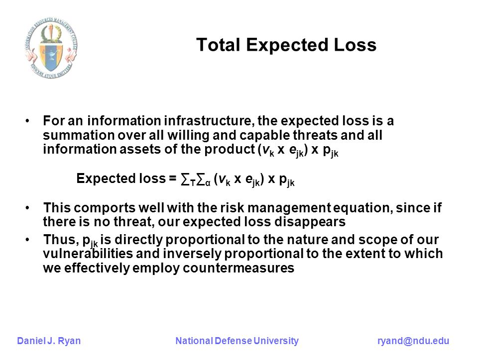 Daniel J. Ryan National Defense University ryand@ndu.edu Total Expected Loss For an information infrastructure, the expected loss is a summation over