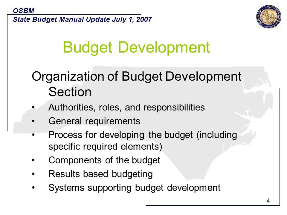 5 Budget Development in the new SBA G.S.