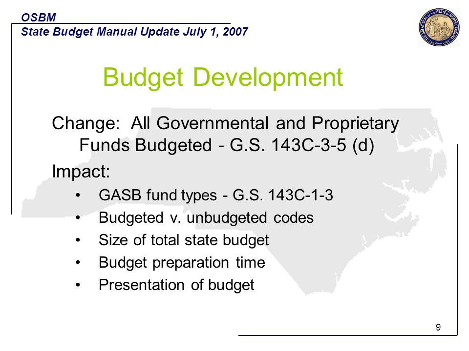 10 Questions? OSBM State Budget Manual Update July 1, 2007 Budget Development