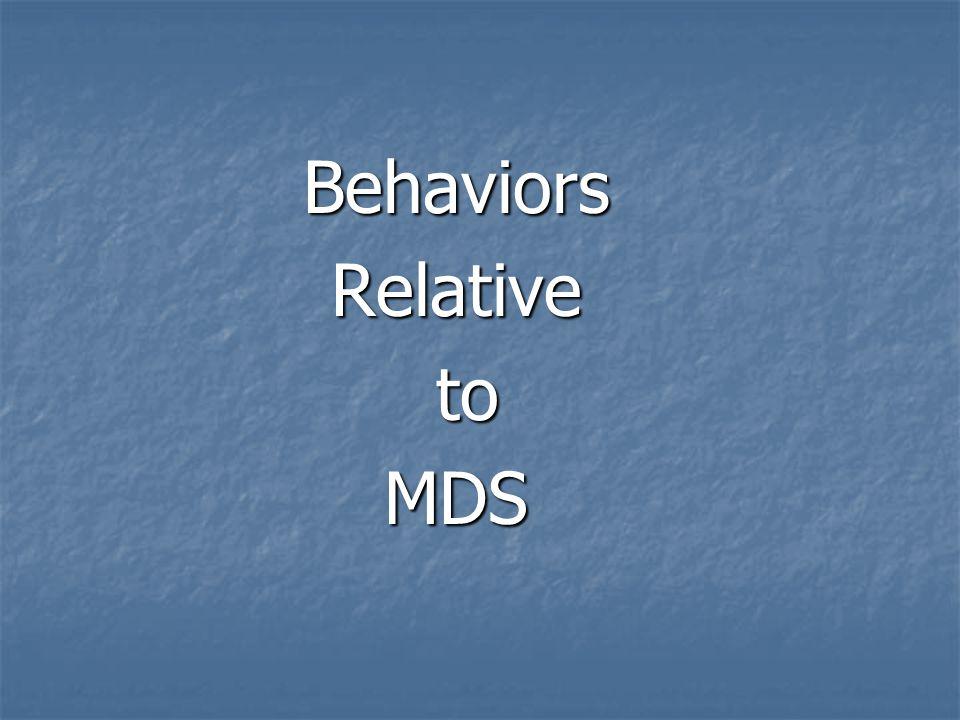 BehaviorsRelative to toMDS