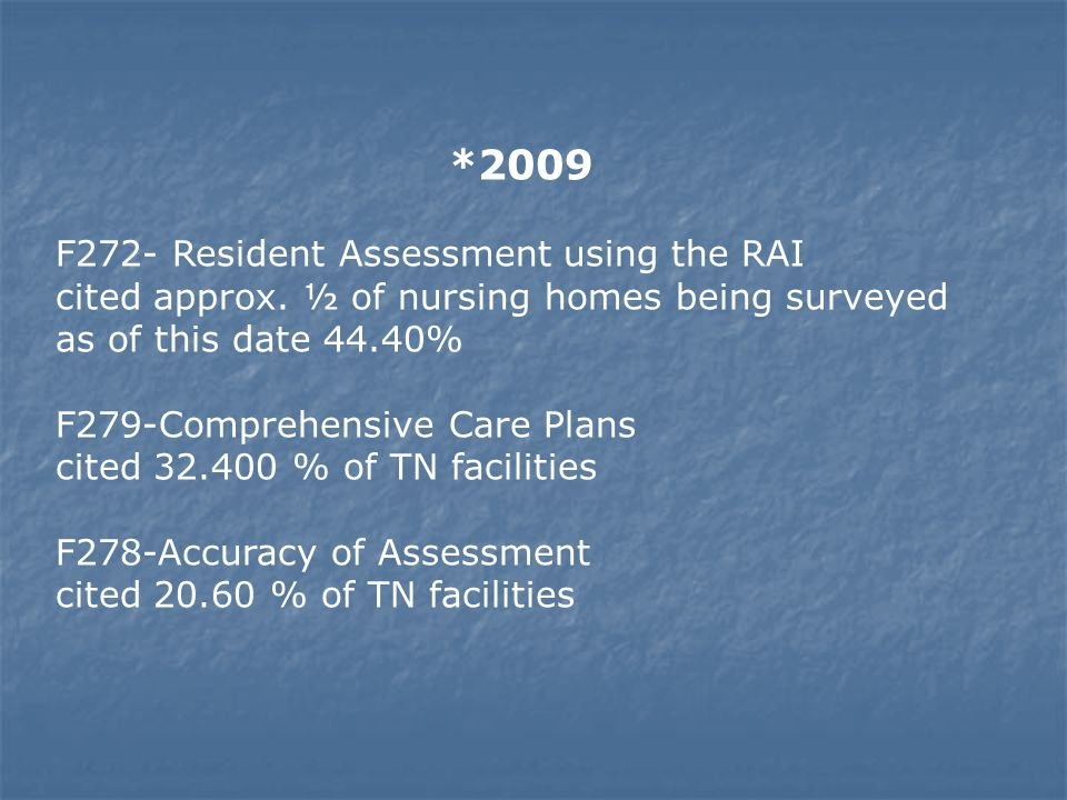 *2009 F272- Resident Assessment using the RAI cited approx. ½ of nursing homes being surveyed as of this date 44.40% F279-Comprehensive Care Plans cit