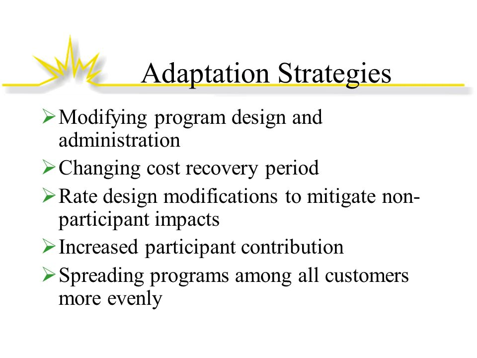 Adaptation Strategies Modifying program design and administration Changing cost recovery period Rate design modifications to mitigate non- participant impacts Increased participant contribution Spreading programs among all customers more evenly