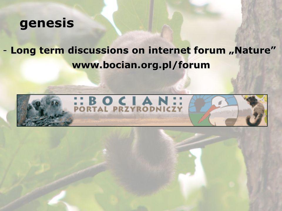 - Long term discussions on internet forum Nature www.bocian.org.pl/forumgenesis