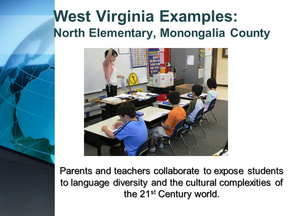 Parents and teachers collaborate to expose students to language diversity and the cultural complexities of the 21 st Century world. West Virginia Exam