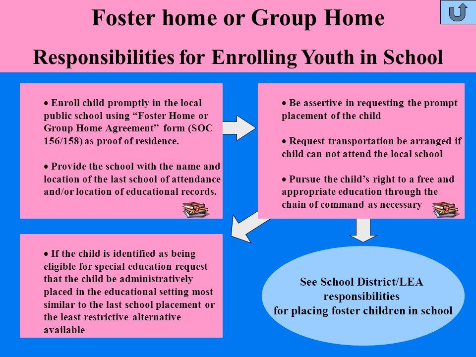 Foster home or Group Home Responsibilities for Enrolling Youth in School Enroll child promptly in the local public school using Foster Home or Group H