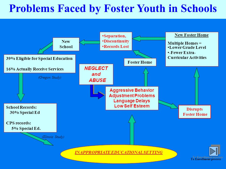 Problems Faced by Foster Youth in Schools NEGLECT and ABUSE Aggressive Behavior Adjustment Problems Language Delays Low Self Esteem Foster Home Separa