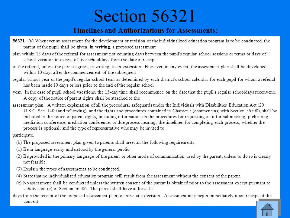 Section 56321 Timelines and Authorizations for Assessments: 56321. (a) Whenever an assessment for the development or revision of the individualized ed
