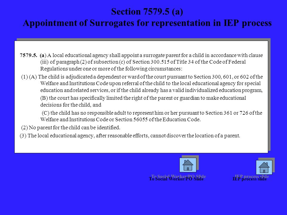 Section 7579.5 (a) Appointment of Surrogates for representation in IEP process 7579.5. (a) A local educational agency shall appoint a surrogate parent
