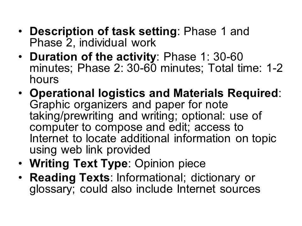 Description of task setting: Phase 1 and Phase 2, individual work Duration of the activity: Phase 1: 30-60 minutes; Phase 2: 30-60 minutes; Total time: 1-2 hours Operational logistics and Materials Required: Graphic organizers and paper for note taking/prewriting and writing; optional: use of computer to compose and edit; access to Internet to locate additional information on topic using web link provided Writing Text Type: Opinion piece Reading Texts: Informational; dictionary or glossary; could also include Internet sources
