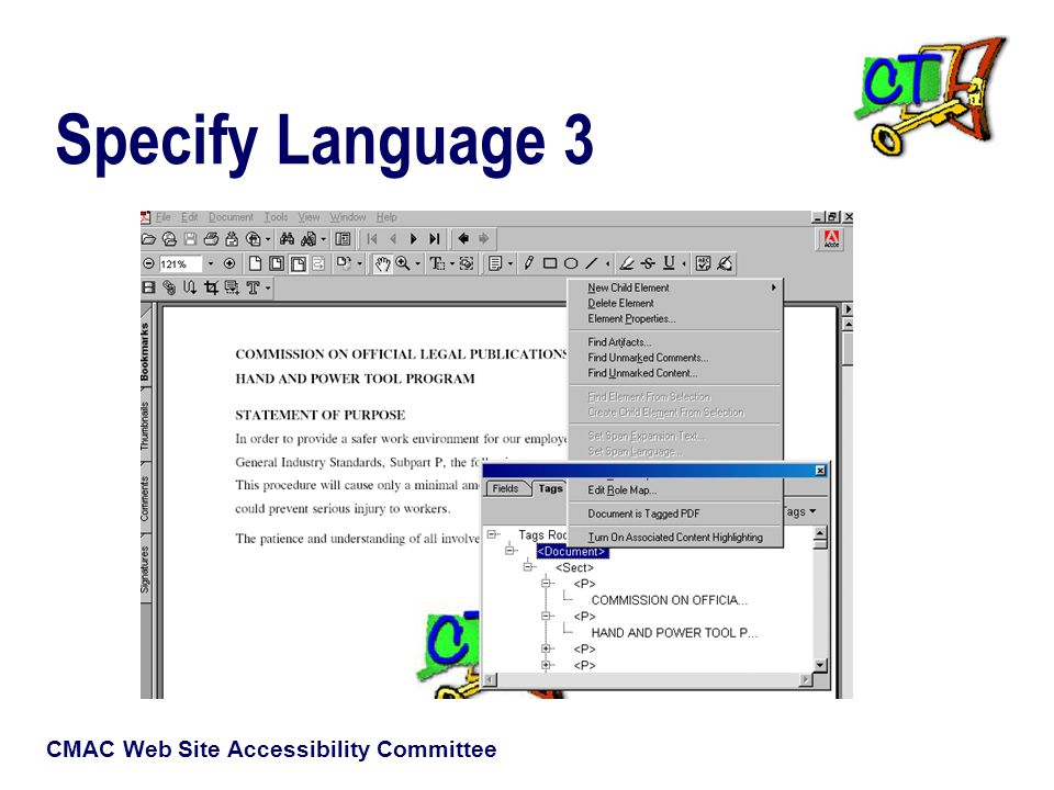 CMAC Web Site Accessibility Committee Specify Language 3