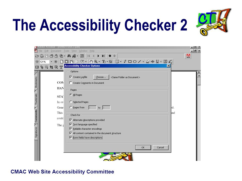CMAC Web Site Accessibility Committee The Accessibility Checker 2