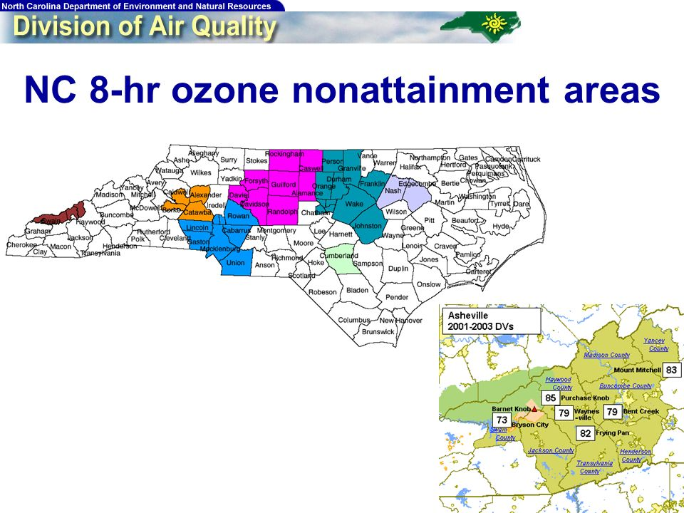 NC 8-hr ozone nonattainment areas