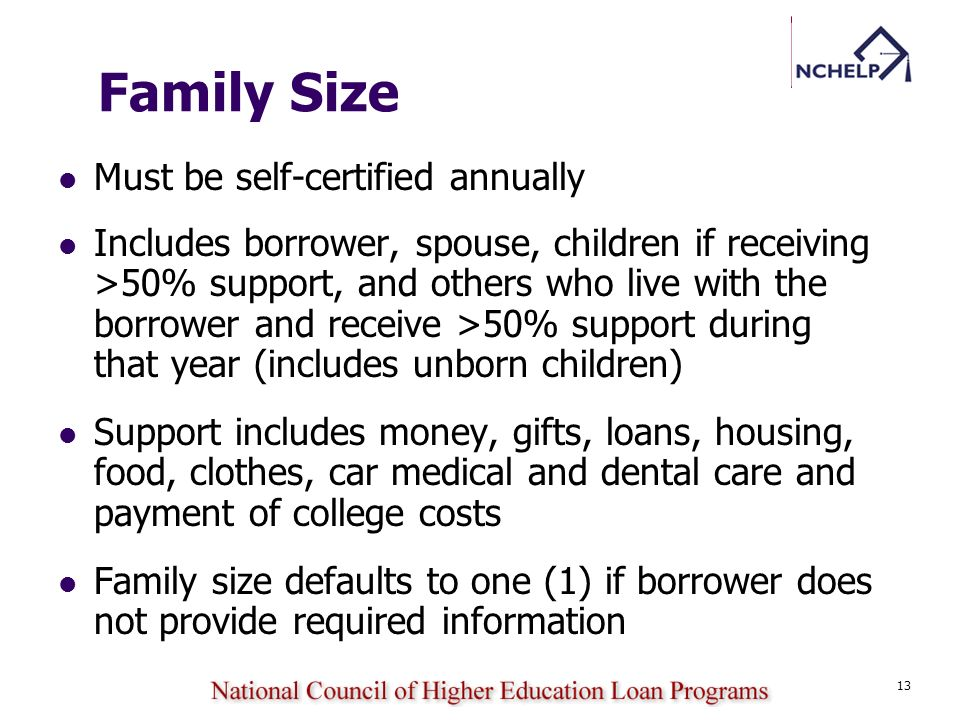 13 Family Size Must be self-certified annually Includes borrower, spouse, children if receiving >50% support, and others who live with the borrower an