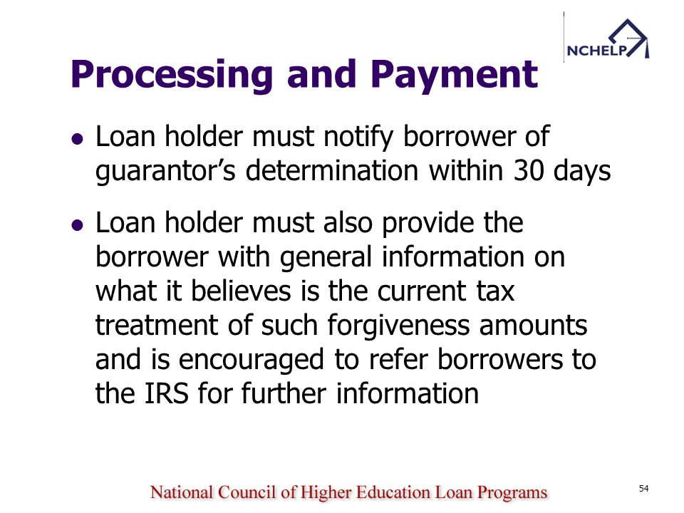 54 Processing and Payment Loan holder must notify borrower of guarantors determination within 30 days Loan holder must also provide the borrower with