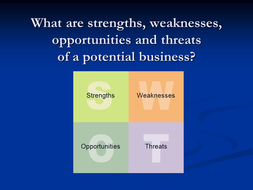 What are strengths, weaknesses, opportunities and threats of a potential business.