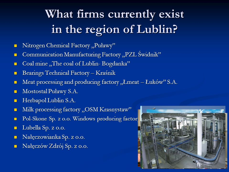 What firms currently exist in the region of Lublin.