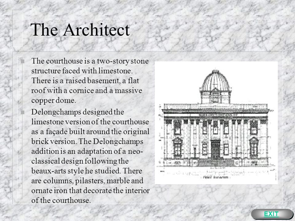 The Architect n Soon after he graduated, he moved to San Francisco and became an apprentice in an architectural firm.