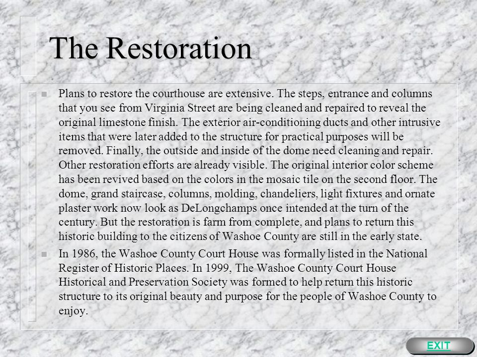 The Restoration EXIT