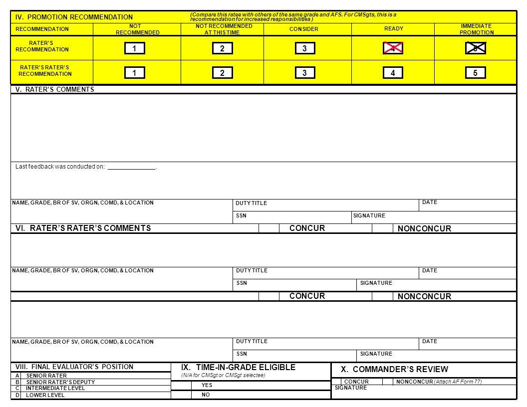 9 AF FORM 911, JUN 95 (REVERSE) (EF-V2) (PerFORM PRO) VII. INDORSERS COMMENTS
