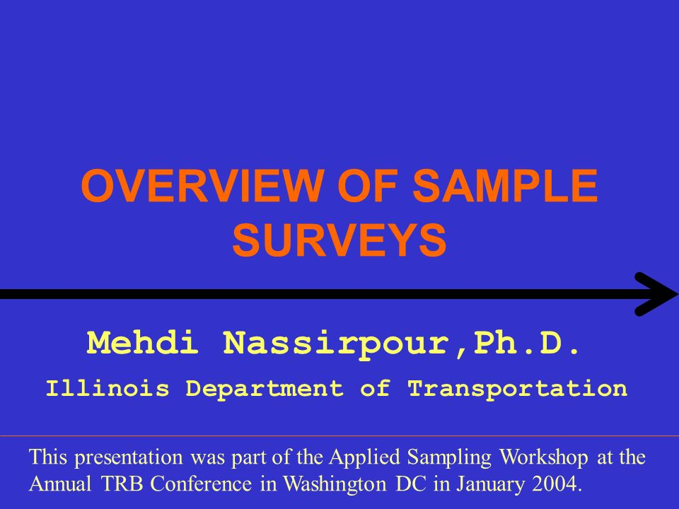OVERVIEW OF SAMPLE SURVEYS Mehdi Nassirpour,Ph.D. Illinois Department of Transportation This presentation was part of the Applied Sampling Workshop at