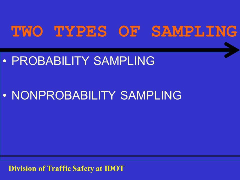 TWO TYPES OF SAMPLING PROBABILITY SAMPLING NONPROBABILITY SAMPLING Division of Traffic Safety at IDOT