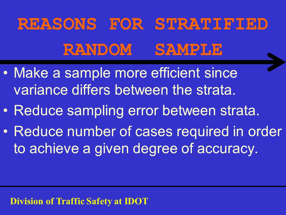 REASONS FOR STRATIFIED RANDOM SAMPLE Make a sample more efficient since variance differs between the strata. Reduce sampling error between strata. Red