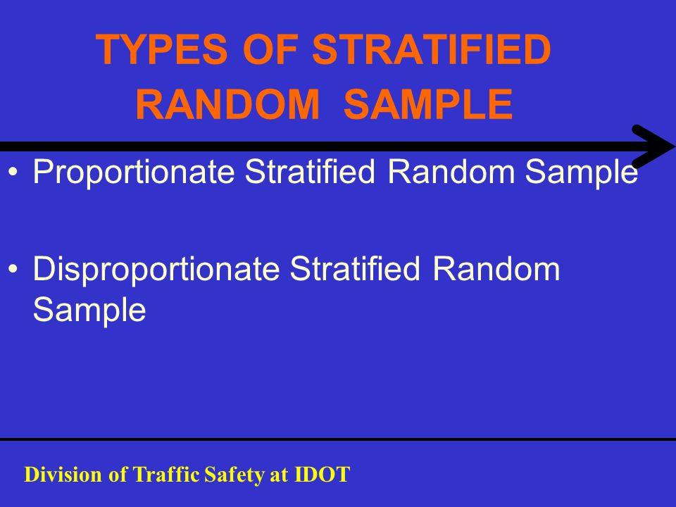 TYPES OF STRATIFIED RANDOM SAMPLE Proportionate Stratified Random Sample Disproportionate Stratified Random Sample Division of Traffic Safety at IDOT