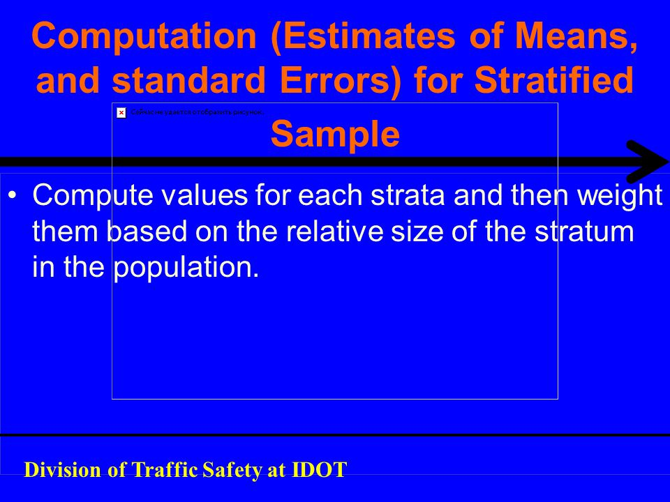 Computation (Estimates of Means, and standard Errors) for Stratified Sample Compute values for each strata and then weight them based on the relative