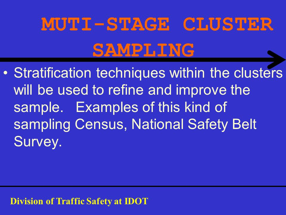 MUTI-STAGE CLUSTER SAMPLING Stratification techniques within the clusters will be used to refine and improve the sample. Examples of this kind of samp
