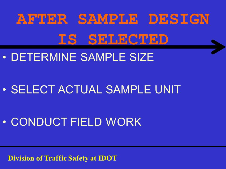 AFTER SAMPLE DESIGN IS SELECTED DETERMINE SAMPLE SIZE SELECT ACTUAL SAMPLE UNIT CONDUCT FIELD WORK Division of Traffic Safety at IDOT