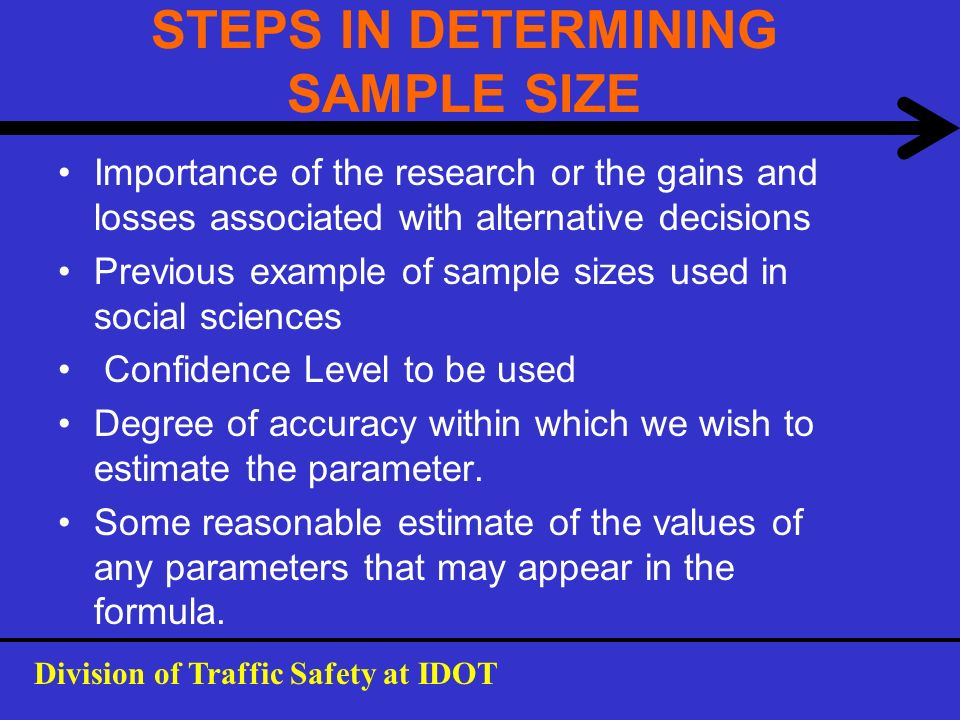 STEPS IN DETERMINING SAMPLE SIZE Importance of the research or the gains and losses associated with alternative decisions Previous example of sample s