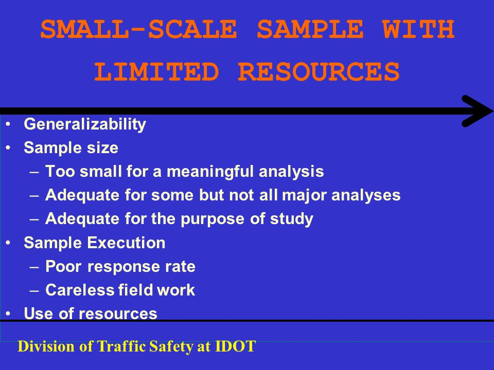 SMALL-SCALE SAMPLE WITH LIMITED RESOURCES Generalizability Sample size –Too small for a meaningful analysis –Adequate for some but not all major analy