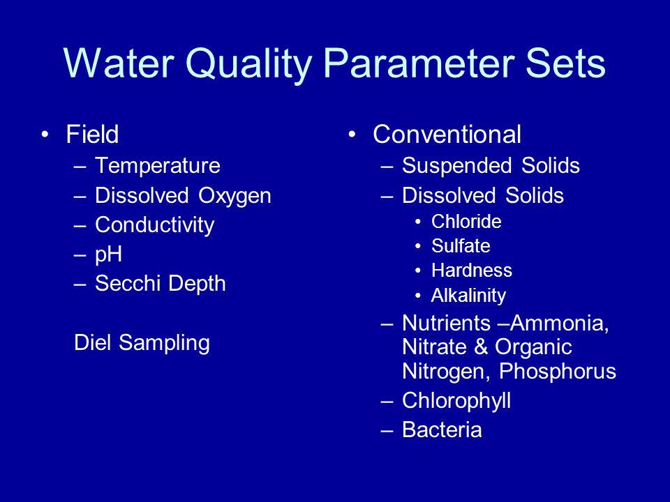 Other Sample Sets Metals in Water and in Sediment –aluminum, arsenic, chromium, copper, nickel, silver, zinc, barium, molybdenum, selenium, iron, and manganese Habitat & Biological –Fish & Macroinvertebrates (Benthics)
