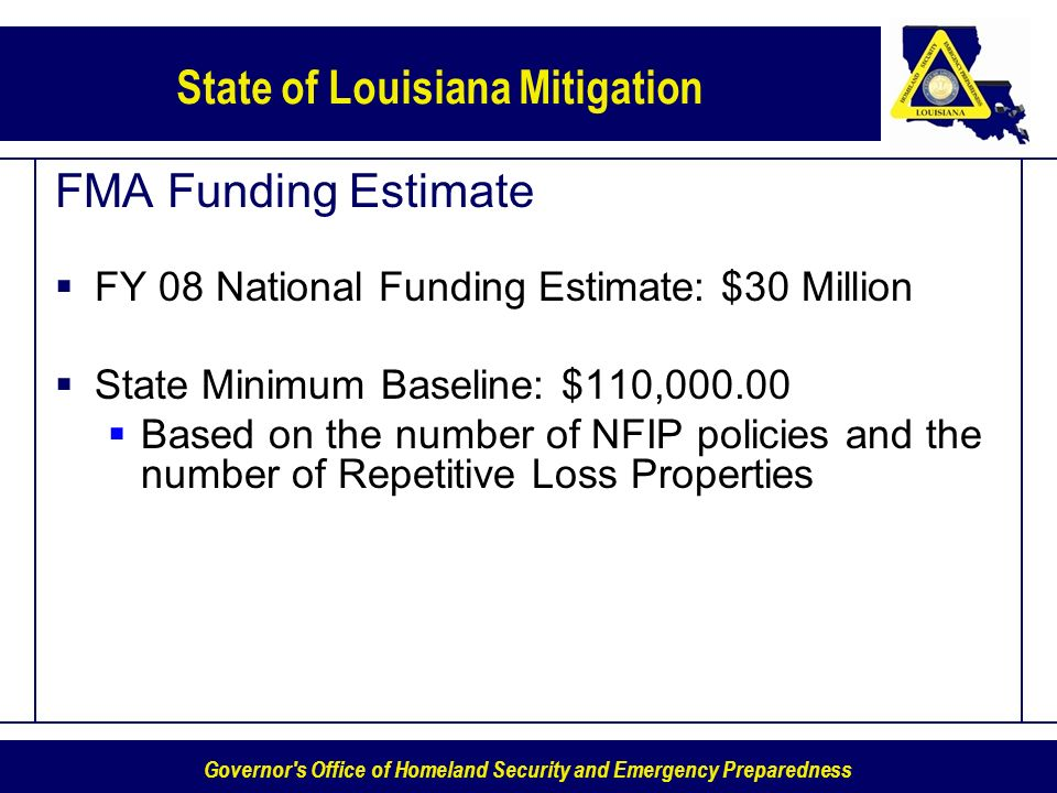 Governor's Office of Homeland Security and Emergency Preparedness State of Louisiana Mitigation FMA Funding Estimate FY 08 National Funding Estimate: