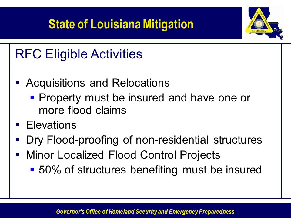 Governor's Office of Homeland Security and Emergency Preparedness State of Louisiana Mitigation RFC Eligible Activities Acquisitions and Relocations P