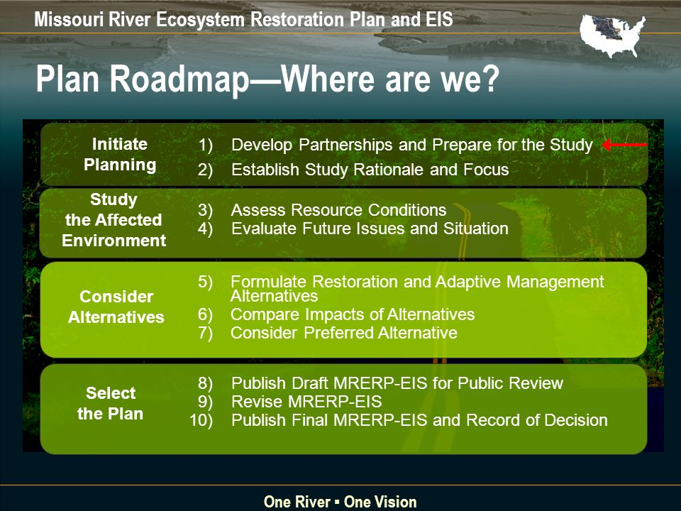 Missouri River Ecosystem Restoration Plan and EIS One River One Vision Plan RoadmapWhere are we.