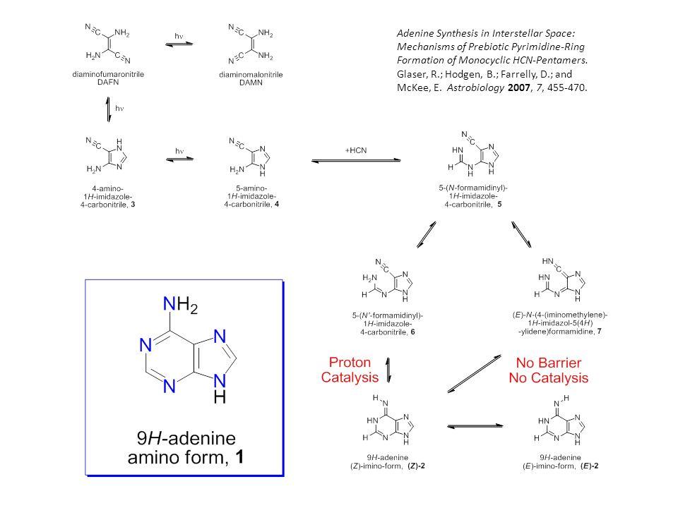 Adenine Synthesis in Interstellar Space: Mechanisms of Prebiotic Pyrimidine-Ring Formation of Monocyclic HCN-Pentamers. Glaser, R.; Hodgen, B.; Farrel