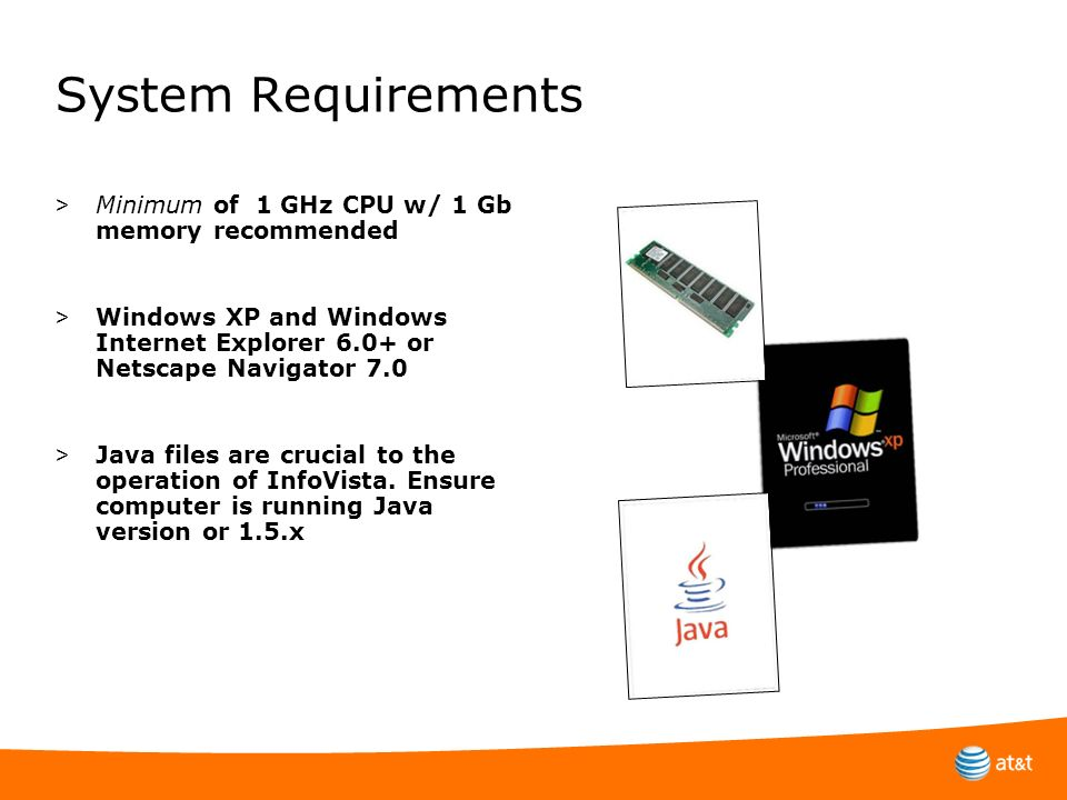 System Requirements > Minimum of 1 GHz CPU w/ 1 Gb memory recommended > Windows XP and Windows Internet Explorer 6.0+ or Netscape Navigator 7.0 > Java
