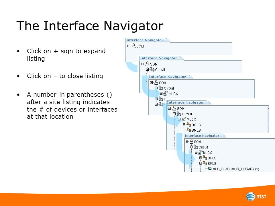 The Interface Navigator Click on + sign to expand listing Click on – to close listing A number in parentheses () after a site listing indicates the #