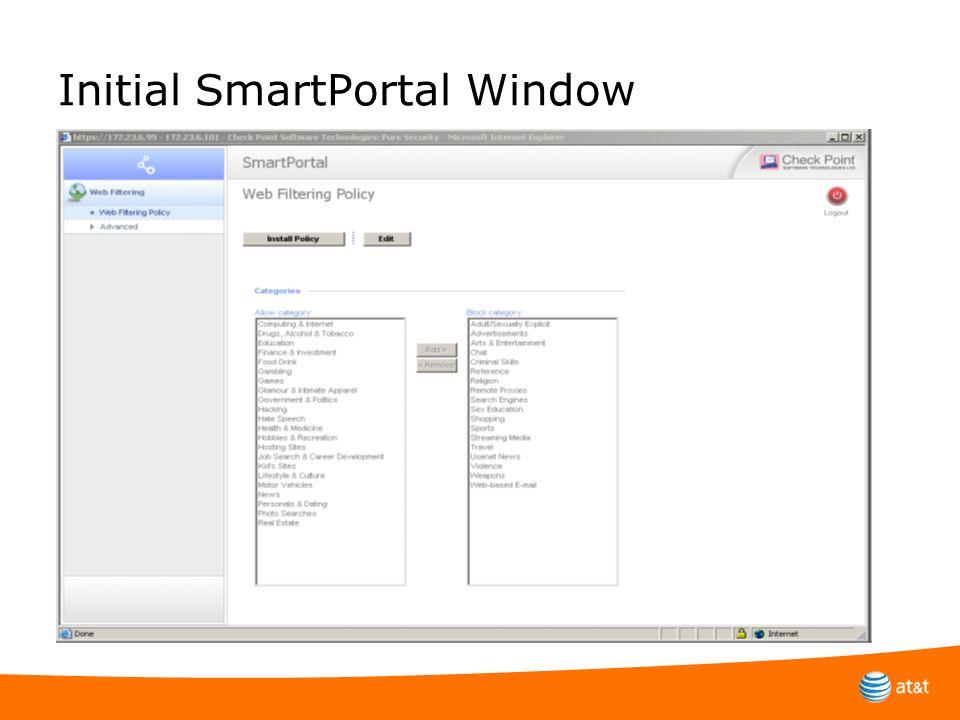 Initial SmartPortal Window