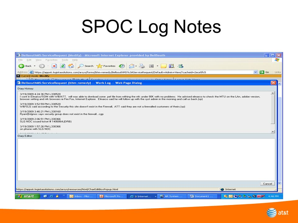 SPOC Log Notes Why do you need to turn in a trouble report……. Provides an orderly and carefully managed process to fix the problem Drives loading tech
