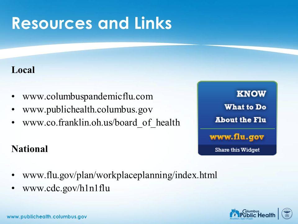 www.publichealth.columbus.gov Resources and Links Local www.columbuspandemicflu.com www.publichealth.columbus.gov www.co.franklin.oh.us/board_of_healt
